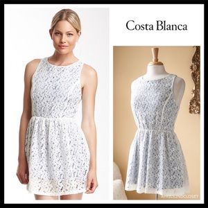 WHITE BOHO CROCHET LACE SLEEVELESS SHORT DRESS A3C